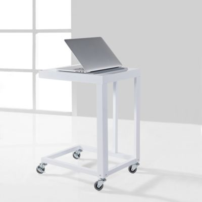 "Durable Flat Metal ""C"" Table in White"