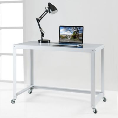 Durable Flat Metal Desk in White