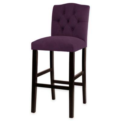 Kennedy 30-Inch Tufted Barstool in Velvet Aubergine