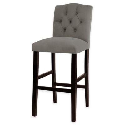 Kennedy 30-Inch Tufted Barstool in Velvet Grey