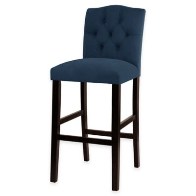 Kennedy 30-Inch Tufted Barstool in Velvet Navy