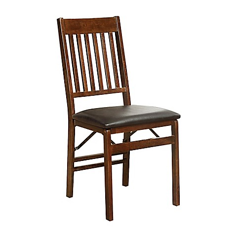 Mission Back Folding Wood Chair In Walnut