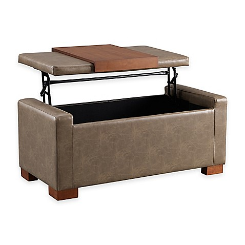 Linon Home Davis Lift Top Storage Ottoman
