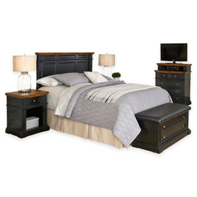 Home Styles Americana Queen/Full 5-Piece Headboard and Bedroom Furniture Set in Brown