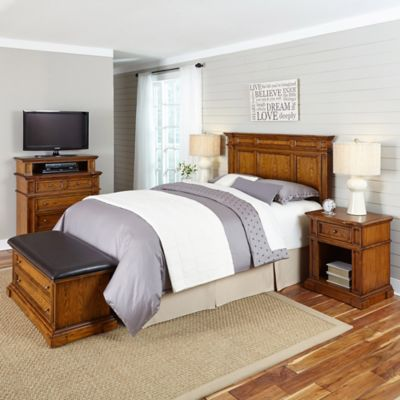 Home Styles Americana King/California King 5-Piece Headboard and Bedroom Furniture Set in Brown