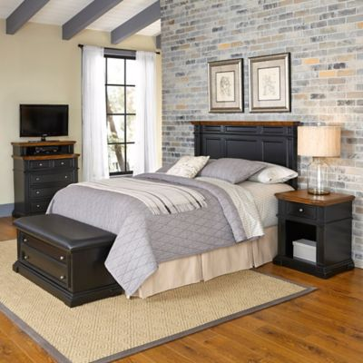 Home Styles Americana 4-Piece Queen/Full Headboard and Bedroom Furniture Set in Black/Oak