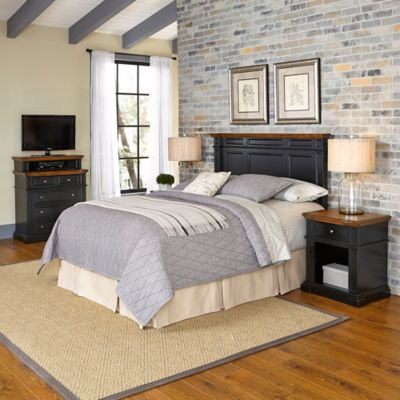 Home Styles Americana 4-Piece Queen/Full Headboard and Bedroom Furniture Set in Brown