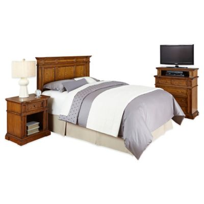 Home Styles Americana Queen/Full Headboard, Nightstand, and Media Chest Set in Oak