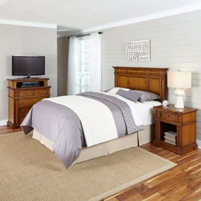 Home Styles Americana King/California King Headboard, Nightstand, and Media Chest Set in White/Oak