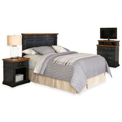 Home Styles Americana King/California King Headboard, Nightstand, and Media Chest Set in Black/Oak