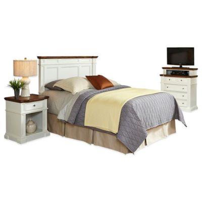 Home Styles Americana King/California King Headboard, Nightstand, and Media Chest Set in White/Oak