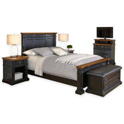 Home Styles Americana 5-Piece Queen Bedroom Set in Black/Oak