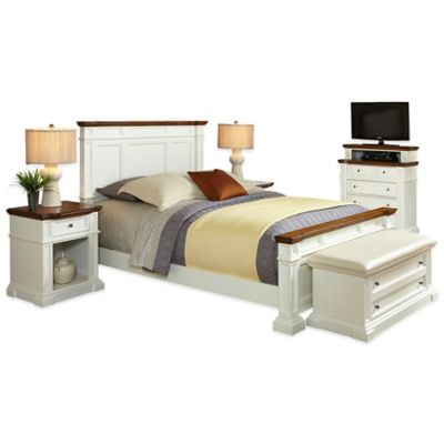 Home Styles Americana 5-Piece Queen Bedroom Set in White/Oak