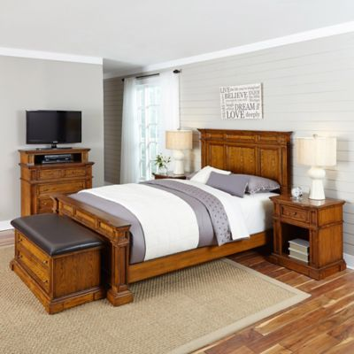 Home Styles Americana 5-Piece King Bedroom Set in Oak