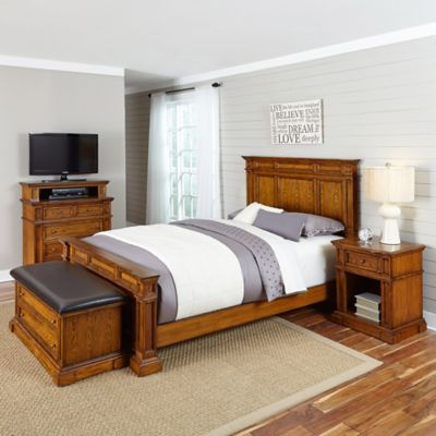 Home Styles Americana 4-Piece Queen Bedroom Set in Black/Oak