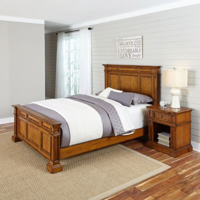 Home Styles Americana 2-Piece Queen Bed and Nightstand Set in Black/Oak