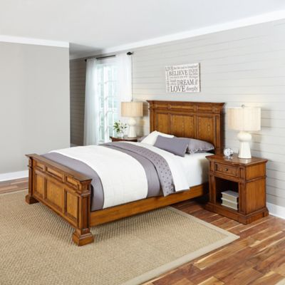 Home Styles Americana 3-Piece Queen Bed and Nightstands Set in Black/Oak
