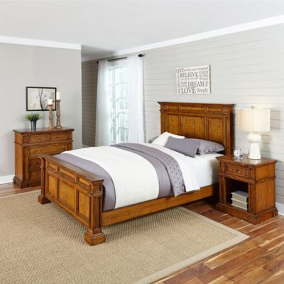 Home Styles Americana 3-Piece Queen Bed, Chest and Nightstand Set in Black/Oak