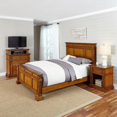 Home Styles 3-Piece Queen Bed, Media Chest and Nightstand Set in White/Oak