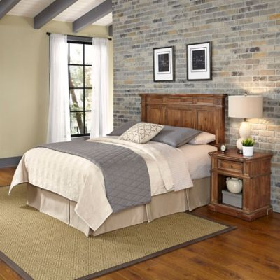 Home Styles Americana Vintage 2-Piece King/California King Headboard and Nightstand Set in Acacia