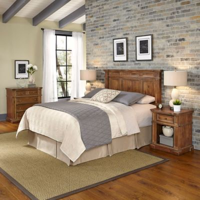 Home Styles Americana Vintage 4-Piece Queen/Full Headboard and Bedroom Furniture Set