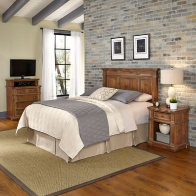 Home Styles Americana Vintage 3-Piece Queen/Full Headboard and Bedroom Furniture Set