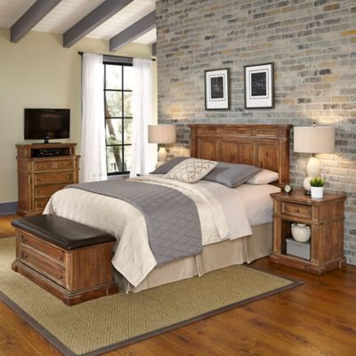 Home Styles Americana Vintage 5-Piece Queen/Full Headboard and Bedroom Furniture Set