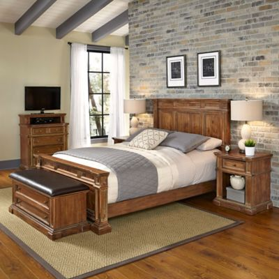 Home Styles Americana Vintage 5-Piece King Bedroom Set in Acacia
