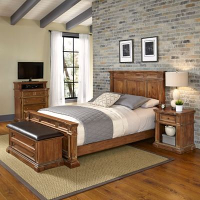 Home Styles Americana Vintage 4-Piece King Bedroom Set in Acacia