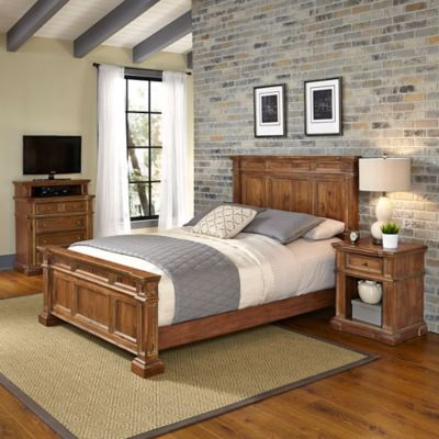 Home Styles Americana Vintage 3-Piece King Bed, Media Chest and Nightstand Set in Acacia
