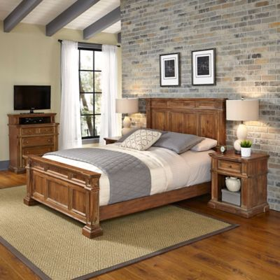 Home Styles Americana Vintage 4-Piece Queen Bed, Media Chest and Nightstands Set in Acacia