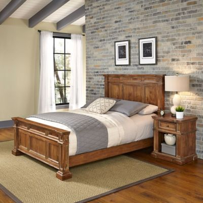 Home Styles Americana Vintage 2-Piece King Bed and Nightstand Set in Acacia