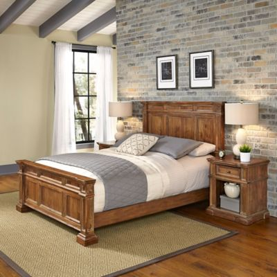 Home Styles Americana Vintage 3-Piece Queen Bed and Nightstands Set in Acacia