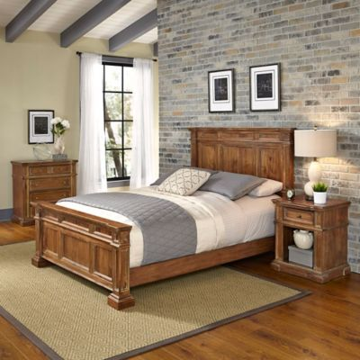 Home Styles Americana Vintage 3-Piece Queen Bedroom Set in Acacia