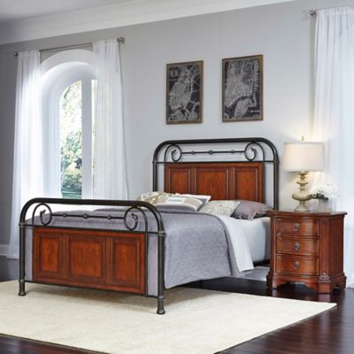 Home Styles Richmond Hill 2-Piece Queen Bed and Nightstand Set in Cognac