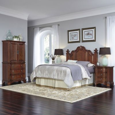 Home Styles Santiago 4-Piece Queen/Full Headboard, Nightstands, and Door Chest Set