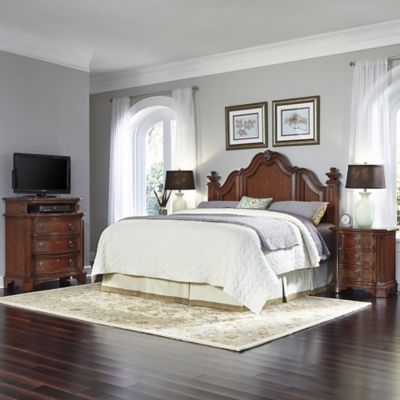 Home Styles Santiago Wood 4-Piece Queen/Full Headboard, Nightstands and Media Chest Set