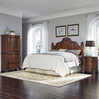 Home Styles Santiago Wood 3-Piece Queen/Full Headboard, Nightstand, and Door Chest Set in Cognac
