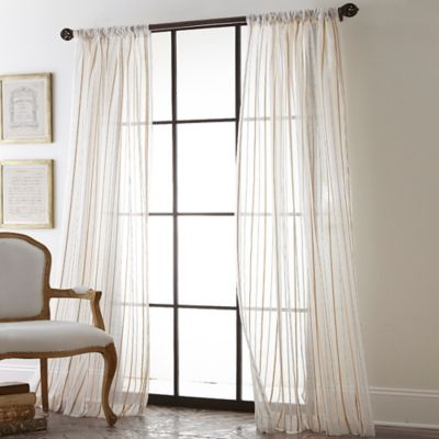 Ribbon Stripe 84-Inch Sheer Rod Pocket Window Curtain Panel in Gold
