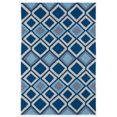 Kaleen Home & Porch Diamonds 7-Foot 9-Inch Round Indoor/Outdoor Rug in Blue