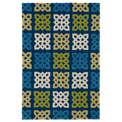 Kaleen Home & Porch Squares 2-Foot x 6-Foot Indoor/Outdoor Runner in Blue