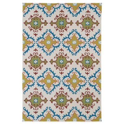 Kaleen Home & Porch Tiles 5-Foot x 7-Foot 6-Inch Indoor/Outdoor Rug in Ivory