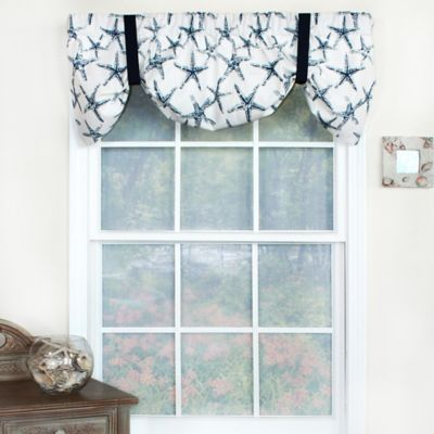 RL Fisher Cotton Ocean Star Tie-Up Window Valance in Navy