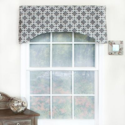 RL Fisher Chained Arch Window Curtain Valance in Grey
