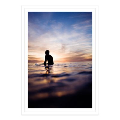 A Lone Surfer in the Sunset Medium Photographed Framed Print Wall Art