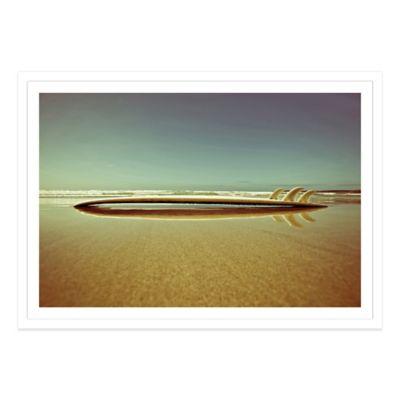 Retro Surfboard on the Beach Medium Photographed Framed Art