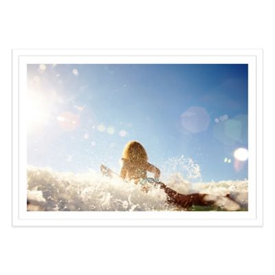 Female Surfer Paddling Through the Surf Large Photographed Framed Print Wall Art