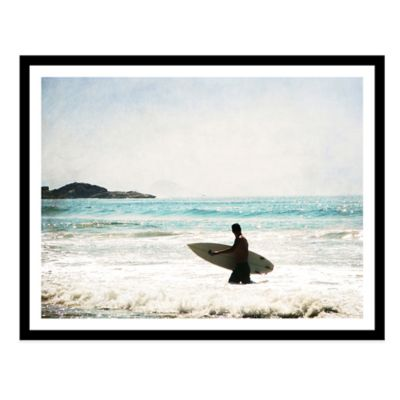 Surfer Walking in Sea in Guaruja Medium Photographed Framed Print Wall Art