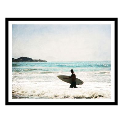 Surfer Walking in Sea in Guaruja Extra-Large Photographed Framed Print Wall Art