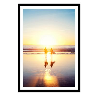 Sunsoaked Surf Silhouette Medium Photographed Framed Print Wall Art